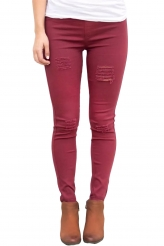 Bottoms,Jeans|Burgundy Distressed Front Stretch Denim Pants