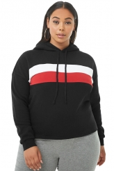 Plus Size,Plus Size Tops|Black Striped Detail Plus Size Chunky Hoodie