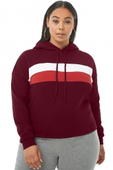 Plus Size,Plus Size Tops|Burgundy Striped Detail Plus Size Chunky Hoodie