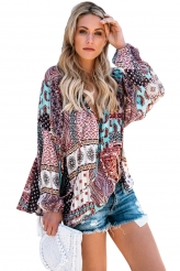 Tops,Blouses & Shirts|Dark Gypsy Print Tassel Tie V Neck Blouse