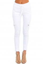 Bottoms,Jeans|White Drawstring Ankle Pocket Denim Jeans