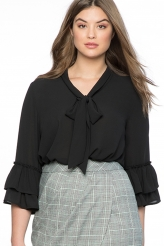 Plus Size,Plus Size Tops|Black Tie Neck Ruffle Sleeved Plus Size Blouse