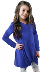 Baby & Kids,Girls Tops|Royal Blue Twist Knot Detail Long Sleeve Girl's Top