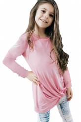 Baby & Kids,Girls Tops|Pink Twist Knot Detail Long Sleeve Girl's Top