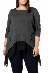 Plus Size,Plus Size Tops|Black Sheer Ruffled Splice Plus Size Top