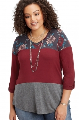 Plus Size,Plus Size Tops|Burgundy Gray Colorblock Floral Plus Size Top
