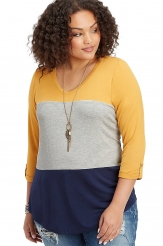 Plus Size,Plus Size Tops|Yellow Navy Striped Plus Size Top
