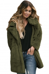 Outerwear,Jackets & Coats|Green Pocketed Faux Fur Longline Coat