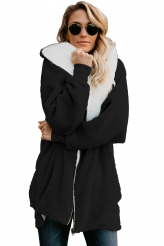 Outerwear,Jackets & Coats|Black Zip Down Hooded Fluffy Coat