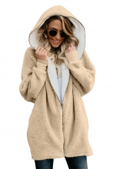 Outerwear,Jackets & Coats|Apricot Zip Down Hooded Fluffy Coat