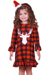 Baby & Kids,Girls Dresses|Girls Reindeer Graphic Plaid Ruffled Christmas Dress