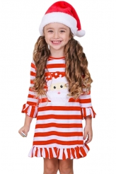 Baby & Kids,Girls Dresses|Girls Red Striped Santa Applique Ruffled Christmas Dress