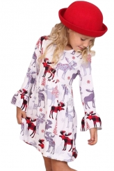 Baby & Kids,Girls Dresses|Girls Cute Moose Print Ruffled Christmas Dress
