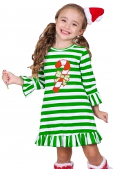 Baby & Kids,Girls Dresses|Candy Cane Accent Green White Striped Christmas Dress