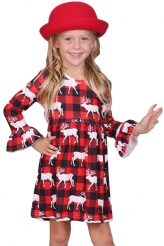 Baby & Kids,Girls Dresses|Girls Reindeer Allover Plaid Ruffled Christmas Dress