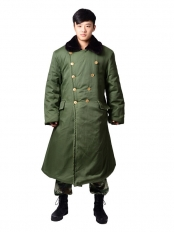 Green Chinese Army Coat Cotton Coat Men's Winter Long Coats Cold Padded Cotton Coat
