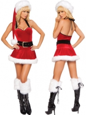 4 Piece Santa Christmas Fur Mini Dress
