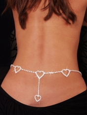 Hearts Rhinestone Belly Chain and Lower Back