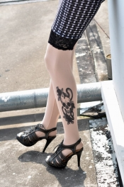 Rose And Skull Tattoo Stockings