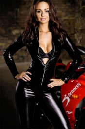 Black Smooth Panel Leather Suit