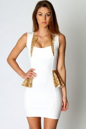 Sequin Trim Detail Peplum Dress