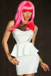Front Rivets Adornment Peplum Dress White