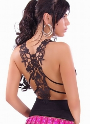 Ruffle Top with Sexy Case Back For Embroidery Black