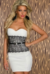 White Eyelash Waist Cincher Party Bodycon Dress