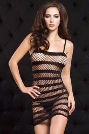 Lethal Dose Black Striped Fishnet Mini Chemise Dress