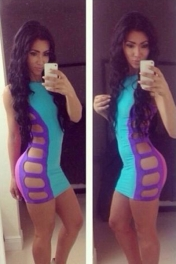 Blue Sexy Provocative Strappy Cut out Bodycon Dress
