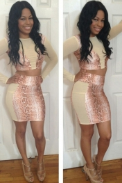 Peach Snakeskin High-waisted Skirt Set