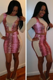 Rosy Snakeskin High-waisted Skirt Set