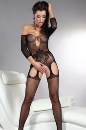 Off-shoulder Cutouts Fishnet Bodystocking