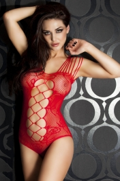 Red Mesh Cutout Strappy Teddy Lingerie
