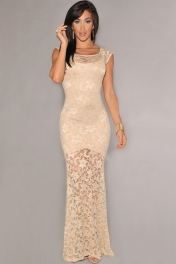 Ivory Sexy Lined Long Lace Evening Dress