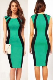 Curve-flattering Patchwork Black Green Midi Dress