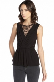 Black Jersey and Lace Cutout Sleeveless Top