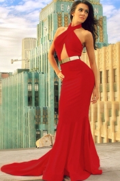 Red Cutout Mermaid Dress with Gold Belt
