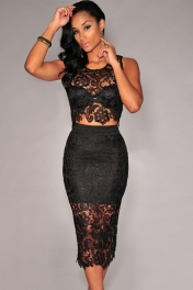 Black Floral Lace Skirt Set