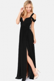 Black Chiffon Maxi Dress