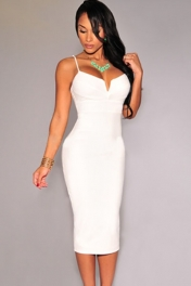 White Plunging V Neck Midi Dress
