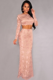 Apricot Lace Open Back Long Sleeves Maxi Skirt Set