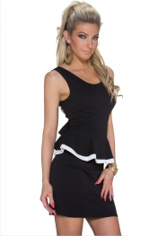 Black Scoop Back Sleeveless Peplum Dress