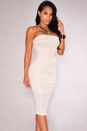 White Laser Cut Nude Illusion Strapless Dress