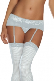 Plus Size White Lace Mesh Garters With G-String