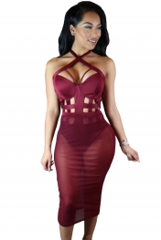 Wine Caged Bandage Bodysuit with Sheer Mesh Skirt