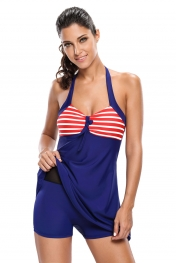 Red White Stripes Black Navy One-piece Swimdress