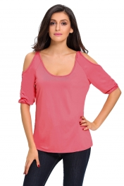 Rosy Scoop Neck Cold Shoulder Oversize Top
