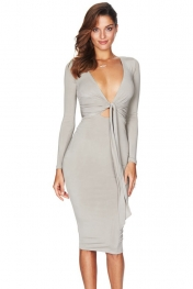 Grey Multi-way Deep V Neck Knot Tie Long Sleeve Midi Dress