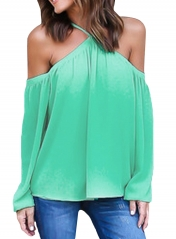 Cyan Long Sleeve Off Shoulder Halter Top